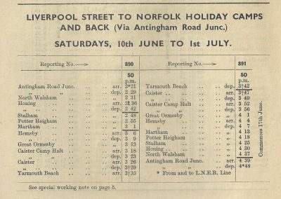 Timetable for 1939